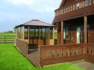 Large hot tub with fully enclosed gazebo